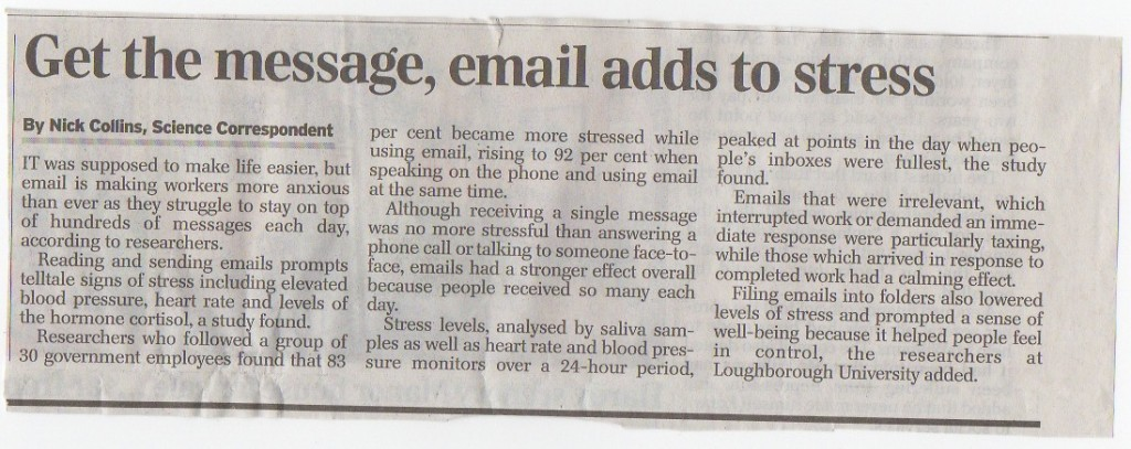 4 June 2013 Daily Telegraph - Email adds to stress